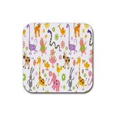 Kids Animal Giraffe Elephant Cows Horse Pigs Chicken Snake Cat Rabbits Duck Flower Floral Rainbow Rubber Coaster (square)  by Jojostore