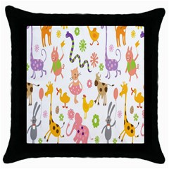 Kids Animal Giraffe Elephant Cows Horse Pigs Chicken Snake Cat Rabbits Duck Flower Floral Rainbow Throw Pillow Case (black) by Jojostore