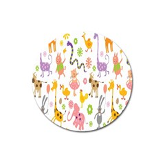 Kids Animal Giraffe Elephant Cows Horse Pigs Chicken Snake Cat Rabbits Duck Flower Floral Rainbow Magnet 3  (round) by Jojostore