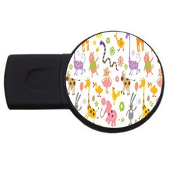 Kids Animal Giraffe Elephant Cows Horse Pigs Chicken Snake Cat Rabbits Duck Flower Floral Rainbow Usb Flash Drive Round (2 Gb) by Jojostore