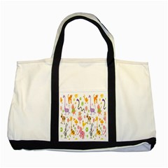 Kids Animal Giraffe Elephant Cows Horse Pigs Chicken Snake Cat Rabbits Duck Flower Floral Rainbow Two Tone Tote Bag by Jojostore