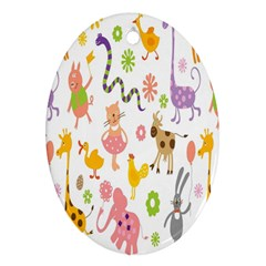 Kids Animal Giraffe Elephant Cows Horse Pigs Chicken Snake Cat Rabbits Duck Flower Floral Rainbow Oval Ornament (two Sides) by Jojostore