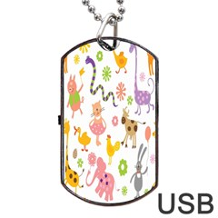 Kids Animal Giraffe Elephant Cows Horse Pigs Chicken Snake Cat Rabbits Duck Flower Floral Rainbow Dog Tag Usb Flash (two Sides) by Jojostore