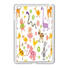 Kids Animal Giraffe Elephant Cows Horse Pigs Chicken Snake Cat Rabbits Duck Flower Floral Rainbow Apple Ipad Mini Case (white) by Jojostore