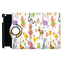 Kids Animal Giraffe Elephant Cows Horse Pigs Chicken Snake Cat Rabbits Duck Flower Floral Rainbow Apple Ipad 2 Flip 360 Case by Jojostore