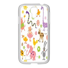 Kids Animal Giraffe Elephant Cows Horse Pigs Chicken Snake Cat Rabbits Duck Flower Floral Rainbow Samsung Galaxy S4 I9500/ I9505 Case (white) by Jojostore