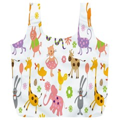 Kids Animal Giraffe Elephant Cows Horse Pigs Chicken Snake Cat Rabbits Duck Flower Floral Rainbow Full Print Recycle Bags (l)  by Jojostore