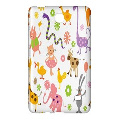 Kids Animal Giraffe Elephant Cows Horse Pigs Chicken Snake Cat Rabbits Duck Flower Floral Rainbow Samsung Galaxy Tab 4 (7 ) Hardshell Case