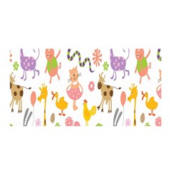 Kids Animal Giraffe Elephant Cows Horse Pigs Chicken Snake Cat Rabbits Duck Flower Floral Rainbow Satin Wrap by Jojostore