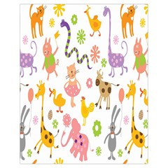 Kids Animal Giraffe Elephant Cows Horse Pigs Chicken Snake Cat Rabbits Duck Flower Floral Rainbow Drawstring Bag (small) by Jojostore