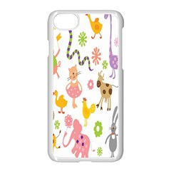 Kids Animal Giraffe Elephant Cows Horse Pigs Chicken Snake Cat Rabbits Duck Flower Floral Rainbow Apple Iphone 7 Seamless Case (white) by Jojostore