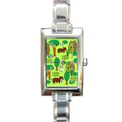 Kids House Rabbit Cow Tree Flower Green Rectangle Italian Charm Watch by Jojostore