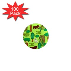 Kids House Rabbit Cow Tree Flower Green 1  Mini Magnets (100 Pack)  by Jojostore