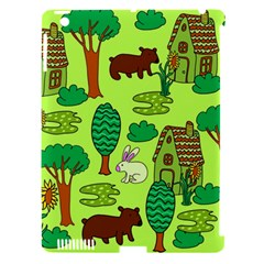 Kids House Rabbit Cow Tree Flower Green Apple Ipad 3/4 Hardshell Case (compatible With Smart Cover) by Jojostore