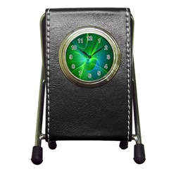 Line Green Light Pen Holder Desk Clocks by Jojostore