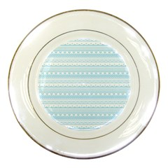 Love Heart Valentine Blue Star Woven Wave Fabric Chevron Porcelain Plates by Jojostore