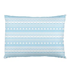 Love Heart Valentine Blue Star Woven Wave Fabric Chevron Pillow Case (two Sides) by Jojostore