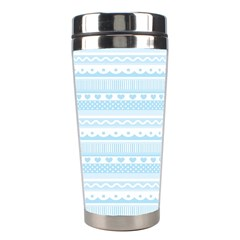 Love Heart Valentine Blue Star Woven Wave Fabric Chevron Stainless Steel Travel Tumblers by Jojostore