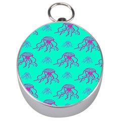 Jellyfish Pink Green Blue Tentacel Silver Compasses by Jojostore