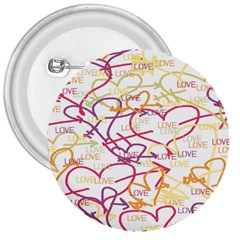 Love Heart Valentine Rainbow Color Purple Pink Yellow Green 3  Buttons by Jojostore