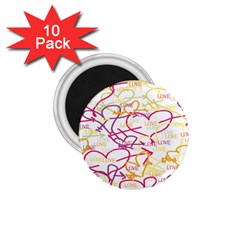 Love Heart Valentine Rainbow Color Purple Pink Yellow Green 1 75  Magnets (10 Pack)  by Jojostore