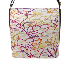 Love Heart Valentine Rainbow Color Purple Pink Yellow Green Flap Messenger Bag (l)  by Jojostore