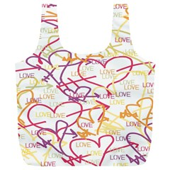 Love Heart Valentine Rainbow Color Purple Pink Yellow Green Full Print Recycle Bags (l)  by Jojostore