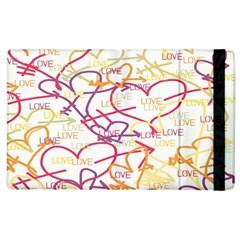Love Heart Valentine Rainbow Color Purple Pink Yellow Green Apple Ipad 3/4 Flip Case by Jojostore