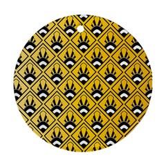 Original Honey Bee Yellow Triangle Round Ornament (two Sides) by Jojostore