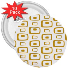 Plaid Gold 3  Buttons (10 Pack)  by Jojostore