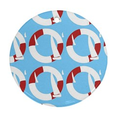 Sail Summer Buoy Boath Sea Water Ornament (round) by Jojostore