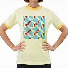 Sail Summer Buoy Boath Sea Water Women s Fitted Ringer T Shirts by Jojostore