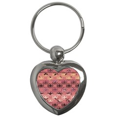 Overlays Pink Flower Floral Key Chains (heart)  by Jojostore