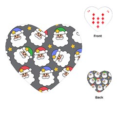 Santa Claus Face Mask Crismast Playing Cards (heart)  by Jojostore