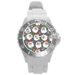 Santa Claus Face Mask Crismast Round Plastic Sport Watch (l) by Jojostore