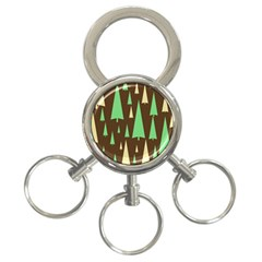 Spruce Tree Grey Green Brown 3 Ring Key Chains by Jojostore