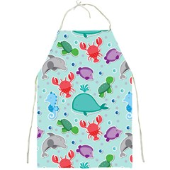 Turtle Crab Dolphin Whale Sea World Whale Water Blue Animals Full Print Aprons by Jojostore