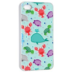 Turtle Crab Dolphin Whale Sea World Whale Water Blue Animals Apple Iphone 4/4s Seamless Case (white) by Jojostore