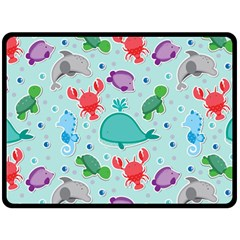Turtle Crab Dolphin Whale Sea World Whale Water Blue Animals Double Sided Fleece Blanket (large)  by Jojostore