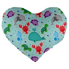Turtle Crab Dolphin Whale Sea World Whale Water Blue Animals Large 19  Premium Flano Heart Shape Cushions by Jojostore