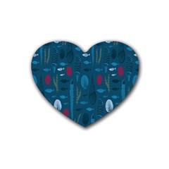 Sea World Fish Ccoral Blue Water Rubber Coaster (heart)  by Jojostore