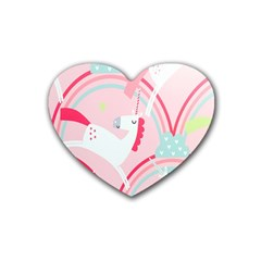 Unicorn Animals Horse Pink Rainbow Rubber Coaster (heart)  by Jojostore