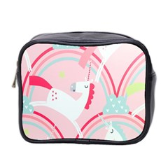 Unicorn Animals Horse Pink Rainbow Mini Toiletries Bag 2 Side by Jojostore