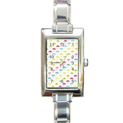 Umbrella Tellow Blue Red Pink Green Color Rain Kid Rectangle Italian Charm Watch by Jojostore