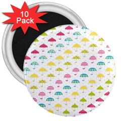 Umbrella Tellow Blue Red Pink Green Color Rain Kid 3  Magnets (10 Pack)  by Jojostore