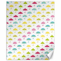Umbrella Tellow Blue Red Pink Green Color Rain Kid Canvas 11  X 14   by Jojostore