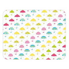 Umbrella Tellow Blue Red Pink Green Color Rain Kid Double Sided Flano Blanket (large)  by Jojostore