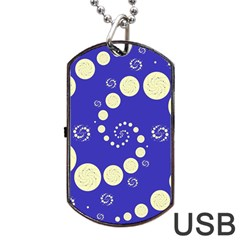 Vortical Universe Fractal Blue Dog Tag Usb Flash (one Side) by Jojostore