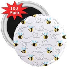 Wasp Bee Fly Yellow Black Blue Hanny Love 3  Magnets (100 Pack) by Jojostore