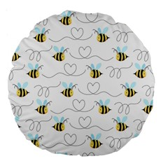 Wasp Bee Fly Yellow Black Blue Hanny Love Large 18  Premium Flano Round Cushions by Jojostore